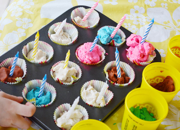 Play dough birthday cupcakes activity | onelittleproject.com
