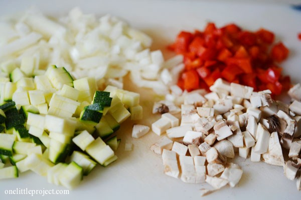 chopped zucchini, onions, mushrooms and red pepper