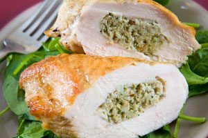 Basil ricotta stuffed chicken breast