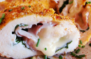 Chicken stuffed with serrano ham and manchego cheese