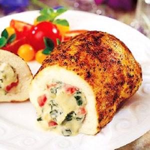 Herbed stuffed chicken breasts