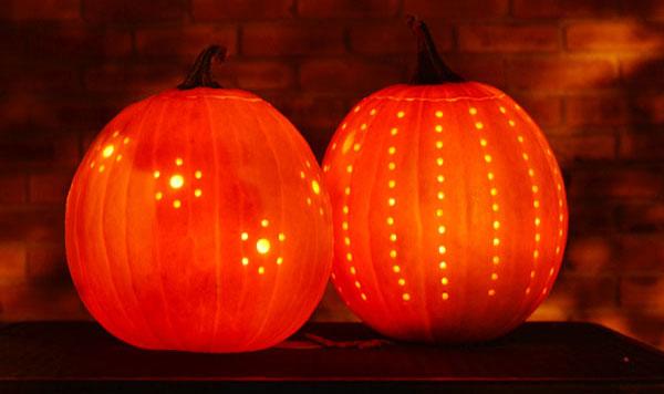Halloween Ideas - Drilled Pumpkins