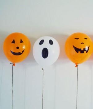 Permanent marker balloon pumpkins