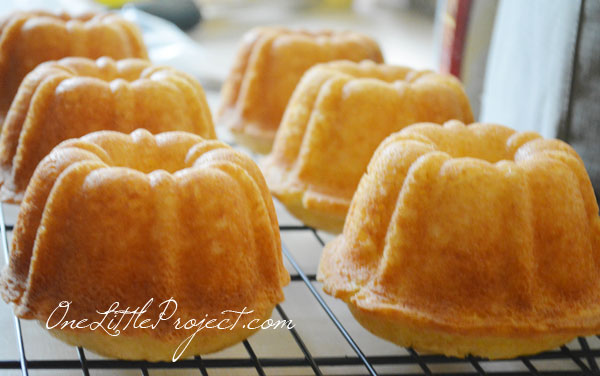 mini bundt cakes after coming out of the oven