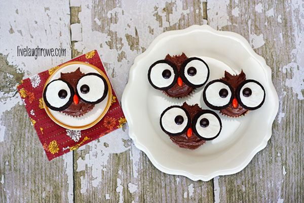 Super cute and easy owl cupcakes One Little Project