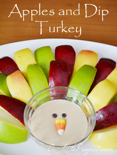 Set up apples around a bowl of dip and use candy corn as the beak and chocolate chips as the eyes.