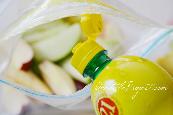 Pour lemon juice into a ziploc bag with apples to keep them from going brown.
