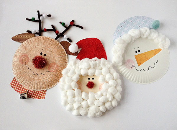 Paper plate christmas crafts rudolph santa and frosty for Christmas crafts for little ones