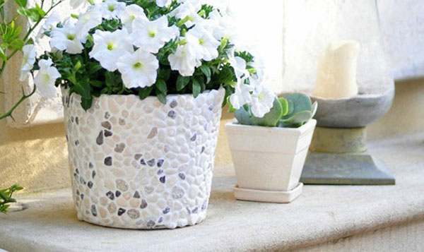 Pebble Covered Planter