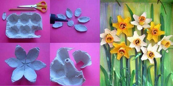 How to make a flower with egg carton the best cart Egg carton flowers ideas