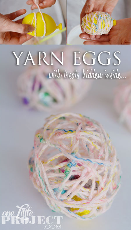 DIY Yarn Eggs - Dip the yarn in glue and it hardens over the balloon and the chocolate treats stay neatly inside!