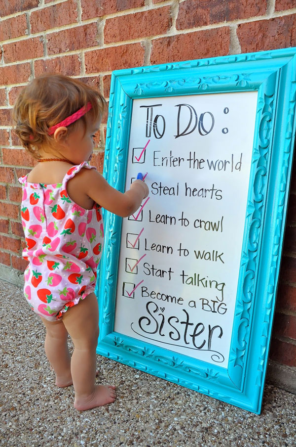 30+ Fun Photo Ideas to Announce a Pregnancy - Big Sister To Do List Announcement