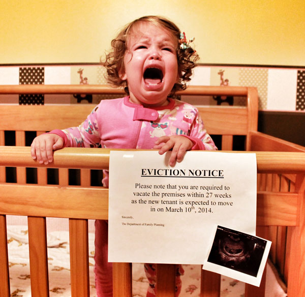 30+ Fun Photo Ideas to Announce a Pregnancy - Crib Eviction Notice