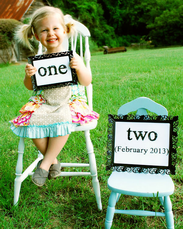30+ Fun Photo Ideas to Announce a Pregnancy - One New Mini Chair Announcement