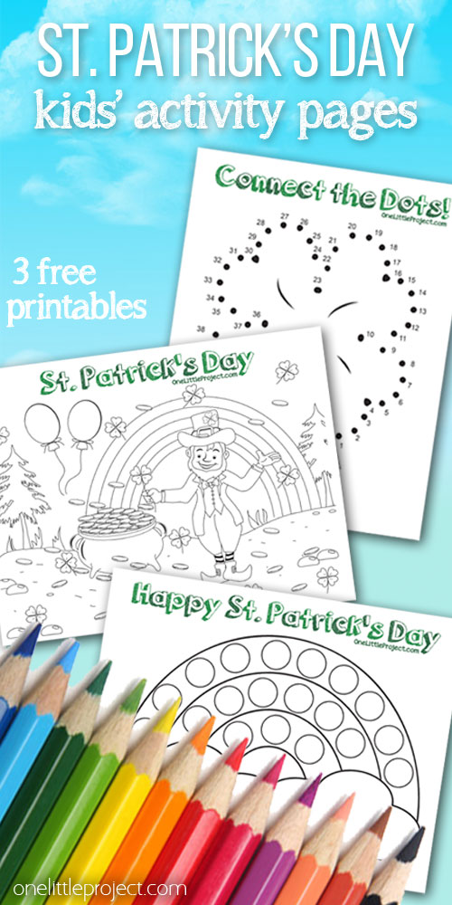 "These FREE St. Patrick's Day kids' activity pages are SO CUTE! Just print them out on regular 8.5"" x 11"" paper! Coloring, bingo dabber and connect the dots pages. So fun!"