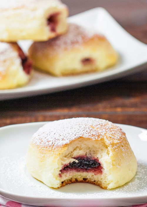 50+ Best Recipes for Fresh Blueberries - Baked Blueberry Jam Filled Donuts