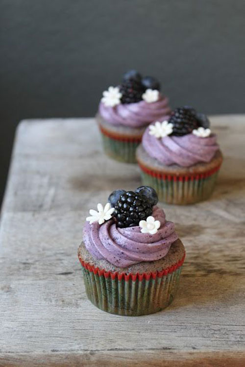 50+ Best Recipes for Fresh Blueberries - Blueberry Cupcake with Blueberry Cream Cheese Frosting