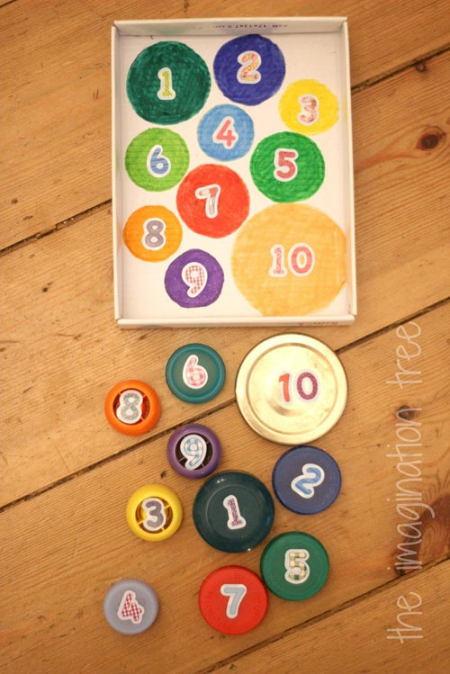 40+ DIY Travel Activities - Bottle Top Count and Match Game