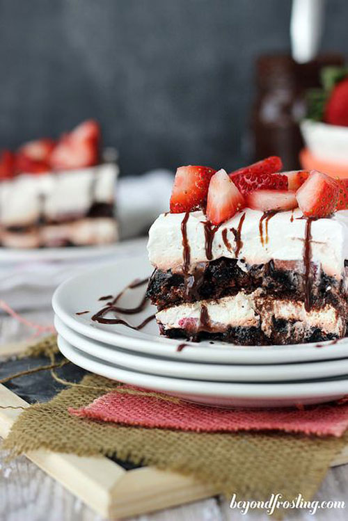 50+ Best Recipes for Fresh Strawberries - Brownie Brittle Strawberry Lasagna