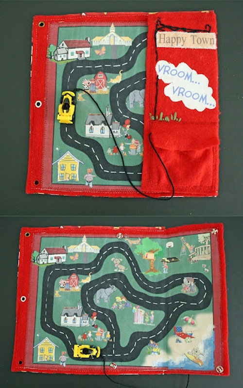 40+ DIY Travel Activities - Car Track Quiet Book
