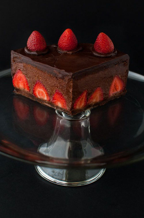50+ Best Recipes for Fresh Strawberries - Chocolate Strawberry Mousse Cake