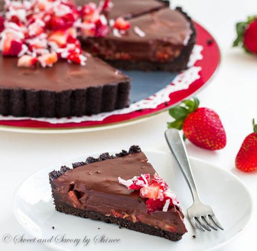 50+ Best Recipes for Fresh Strawberries - Chocolate Truffle Tart