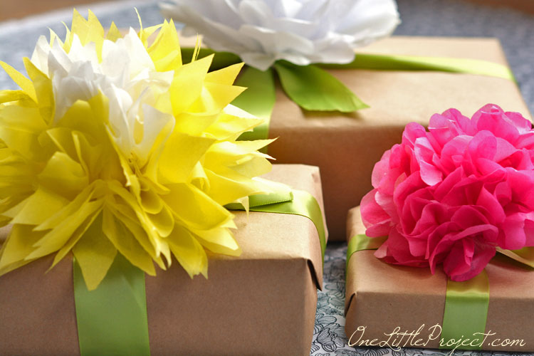 Gift wrapping with tissue paper flowers gift wrapping with tissue paper flowers is a simple way to wrap gifts but it mightylinksfo Gallery