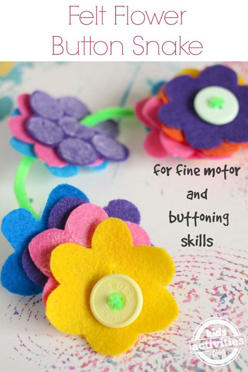 40+ DIY Travel Activities - Felt Flower Button Snake