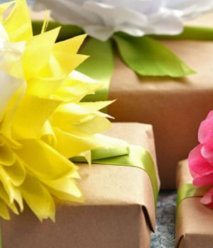 Gift Wrapping with Tissue Paper Flowers