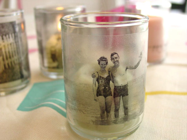 Eco-Friendly Homemade Mother's Day Gift Ideas - Glass Votive Photo Candles