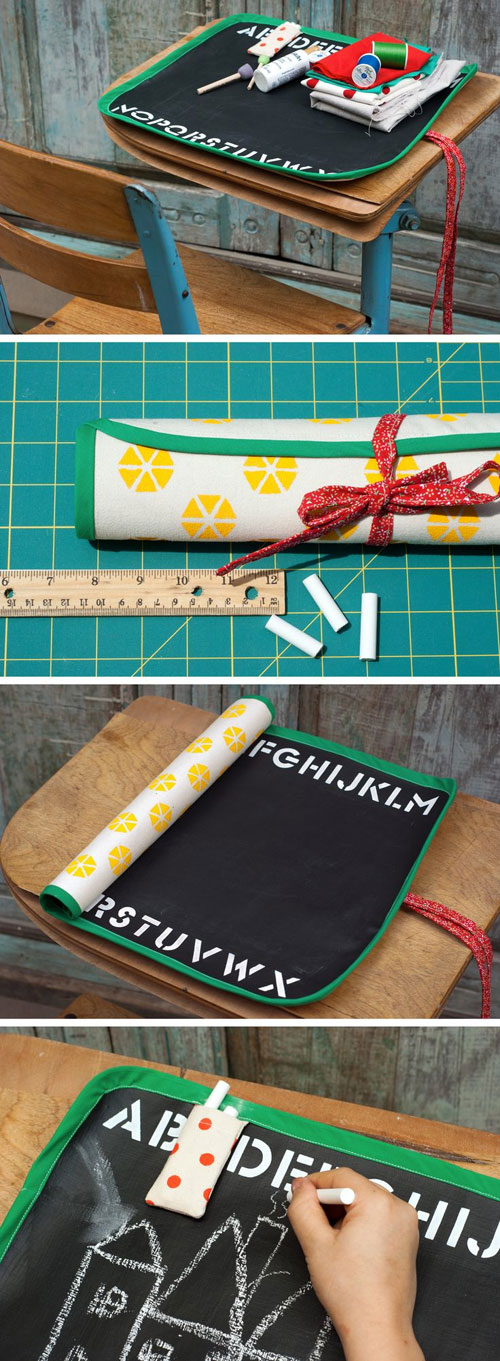 40+ DIY Travel Activities - Roll Up Chalkboard Mat