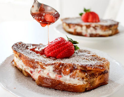 50+ Best Recipes for Fresh Strawberries - Strawberries and Cream Stuffed French Toast