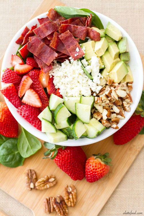 50+ Best Recipes for Fresh Strawberries - Strawberry, Avocado, & Bacon Spinach Salad