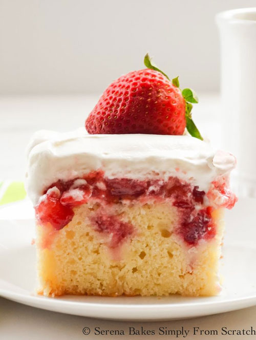 50+ Best Recipes for Fresh Strawberries - Strawberry Shortcake Poke Cake