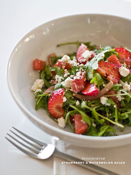 50+ Best Recipes for Fresh Watermelon - Strawberry and Watermelon Arugula Salad