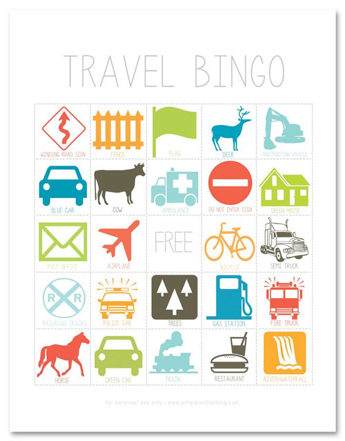 40+ DIY Travel Activities - Travel Bingo Game