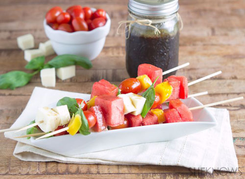 50+ Best Recipes for Fresh Watermelon - Watermelon Caprese Salad Kabobs