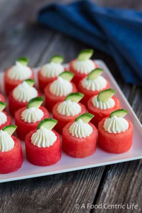 50+ Best Recipes for Fresh Watermelon - Watermelon & Goat Cheese Appetizer