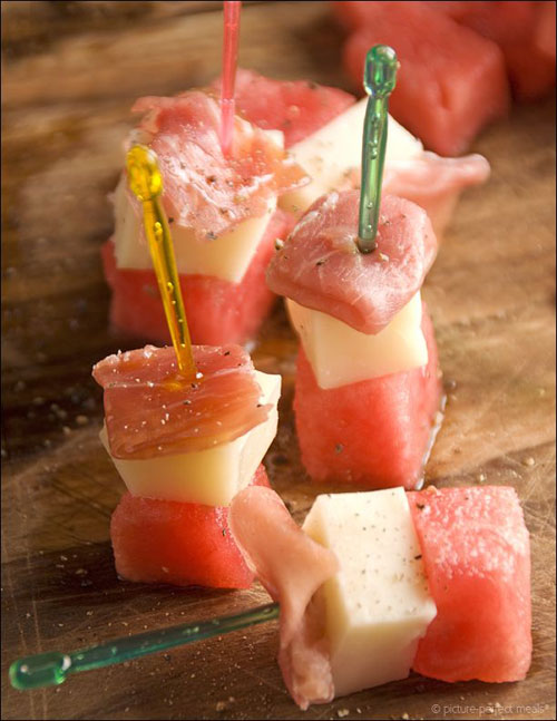 50+ Best Recipes for Fresh Watermelon - Watermelon, Manchego and Prosciutto Skewers