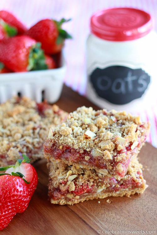 50+ Best Recipes for Fresh Strawberries - Whole Grain Strawberry Breakfast Bars
