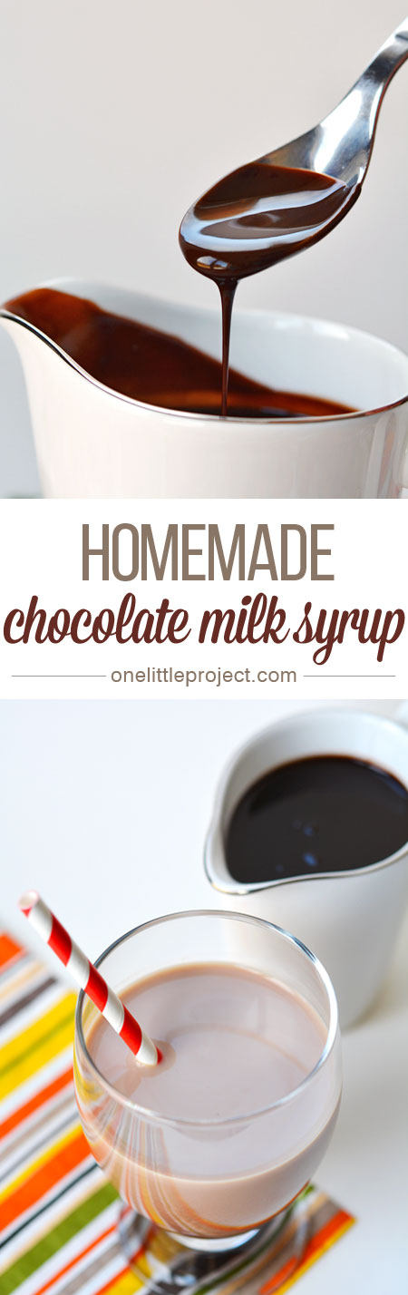 This homemade chocolate milk syrup is great for chocolate milk, delicious on ice cream, perfect in chocolate milk shakes and AMAZING drizzled over warm brownies!