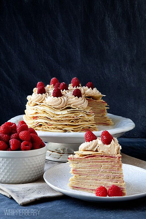 50+ Best Recipes for Fresh Raspberries - Raspberry Crepe Cake