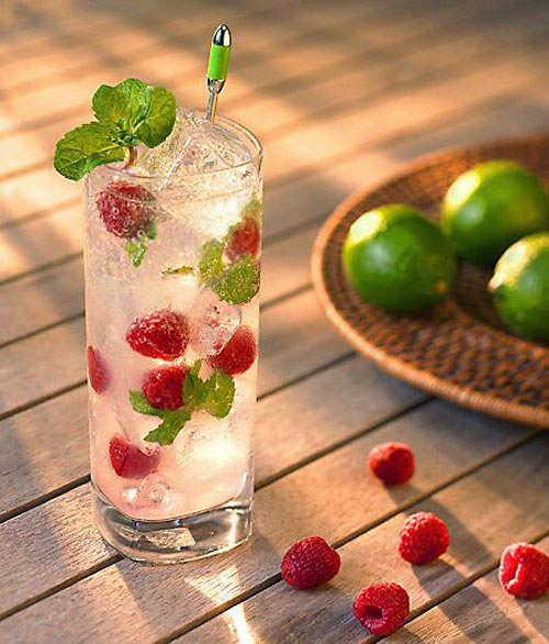 50+ Best Recipes for Fresh Raspberries - Raspberry Mint Mojito