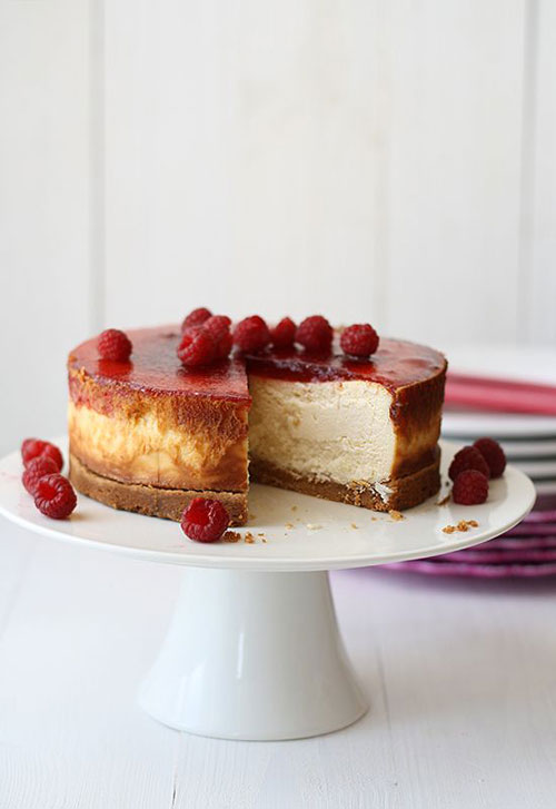 50+ Best Recipes for Fresh Raspberries - Raspberry New York Style Cheesecake