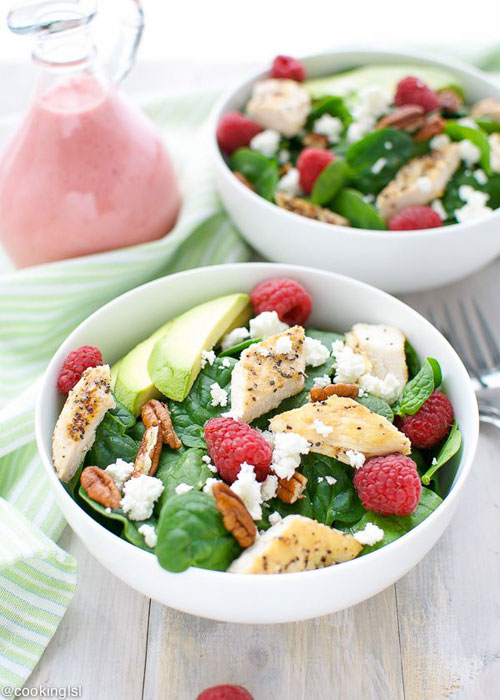 50+ Best Recipes for Fresh Raspberries - Spinach Salad With Raspberry Vinaigrette