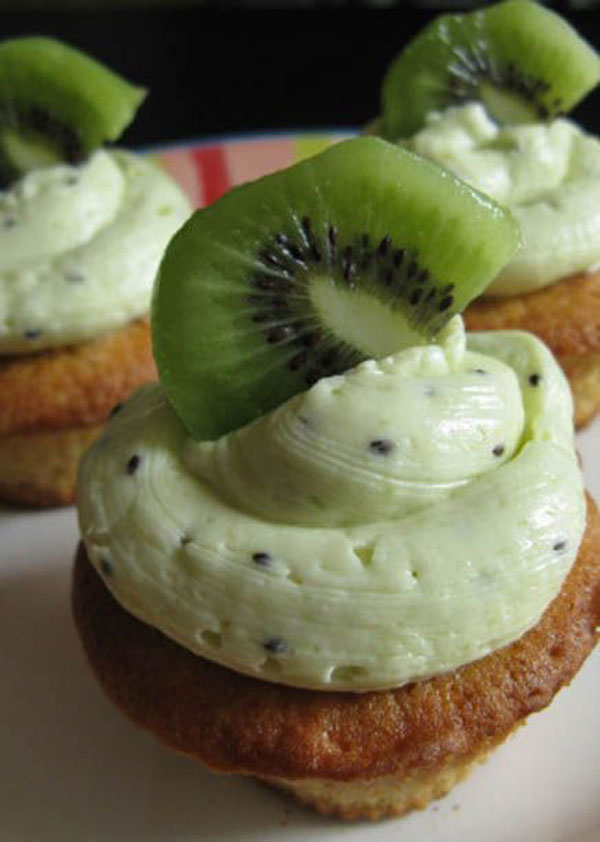 50+ Best Kiwi Recipes - Kiwi Vanilla Cupcakes