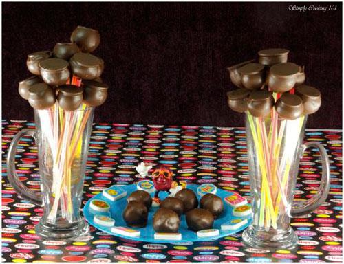 50+ Glow Stick Ideas - Brownie Cake Pops on Glow Sticks