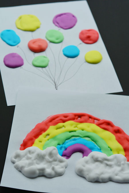 Puffy Paint Rainbow and Balloon Paintings