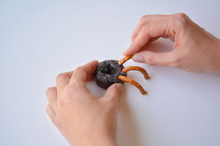 These mini chocolate donut spiders were so much fun, and SO EASY! They took less than 2 minutes to make, and looked so cute when they were finished!