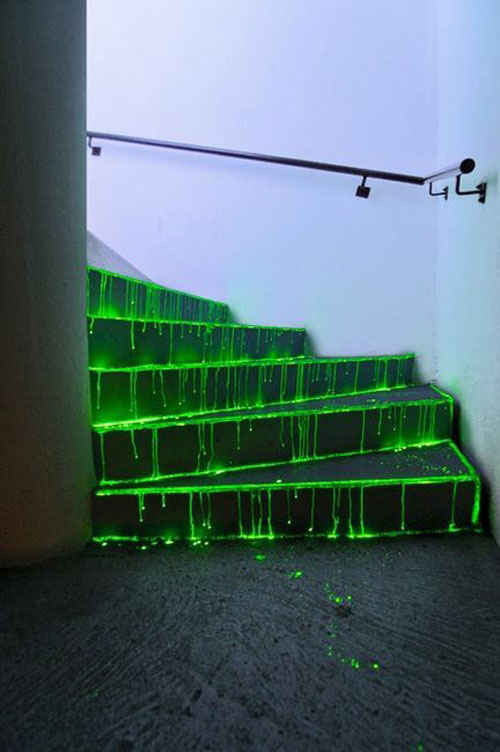 50+ Glow Stick Ideas - Ghoulish Glow Stick Staircase